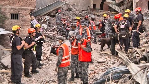 exterior shots of hungarian, american and nepalese rescuers in the rubble of a collapsed building, searching for nepalese earthquake survivors with... - eastern european culture stock videos & royalty-free footage