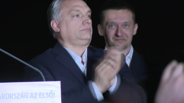 Exterior shots of Hungarian Prime Minister on stage as his supporters cheer after his election victory on 9 April 2018 in Budapest Hungary