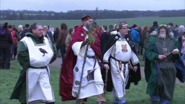 exterior shots of ian temple aka wildfox of dorset grove of druids performing blessings with other druids in traditional costume alongside at... - paganism stock videos and b-roll footage