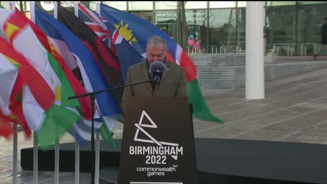 exterior shots of ian ward speaking at the 2022 commonwealth games countdown clock unveiled ceremony on 9th march 2020 in birmingham england - commonwealth games stock videos & royalty-free footage