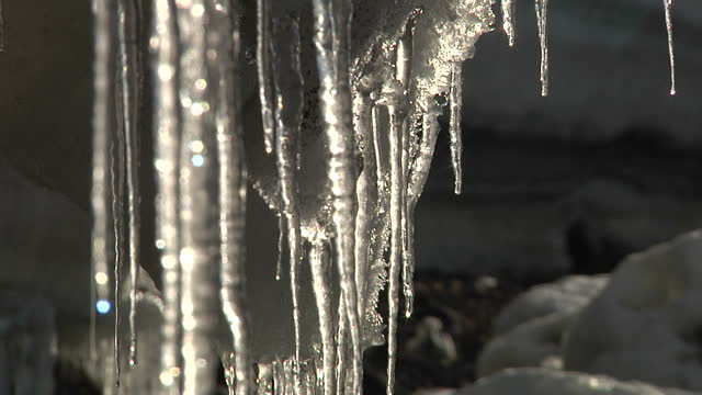 exterior shots of icicles hanging from ice shelf including close ups of water dripping off of icicle icicles melting in antarctic on march 09 2013 in... - icicle stock videos & royalty-free footage