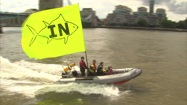 exterior shots of in campaign boat moving down river thames and musician bob geldof waving from it on june 15, 2016 in london, united kingdom.... - 2016 european union referendum stock videos & royalty-free footage