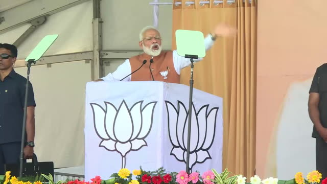 exterior shots of india's prime minister narendra modi celebrating after securing another five years in office on may 23 2019 in mumbai india - staatsdienst stock-videos und b-roll-filmmaterial