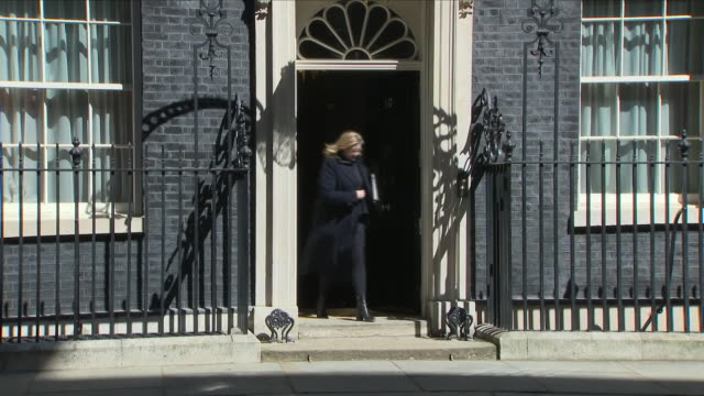 exterior shots of international development secretary penny mordaunt mp walking from number 10 downing street on 1 may 2018 in london united kingdom - 10 downing street stock videos and b-roll footage