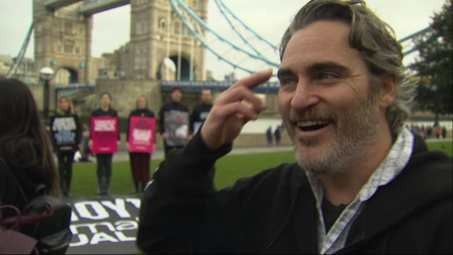 exterior shots of interview on joaquin phoenix on climate protest and veganism on 2nd february 2020 in london, england. - celebrities stock videos & royalty-free footage