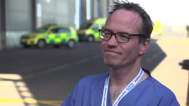 exterior shots of interview with eamonn sullivan nursing director at nhs nightingale london about the the first patient to be discharged from the icu... - medical occupation stock videos & royalty-free footage