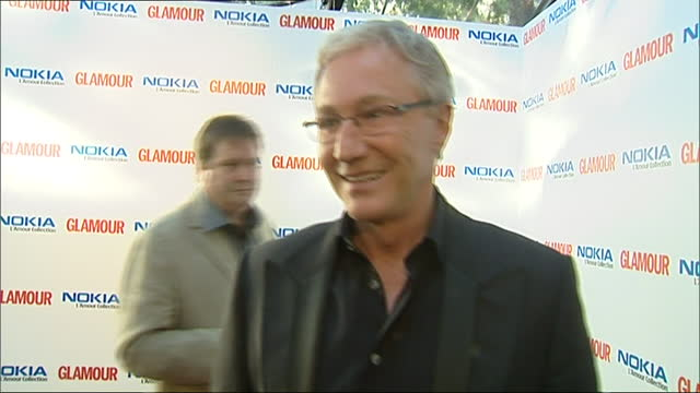 exterior shots of interview with irish-english comedian and television presenter paul o'grady on the red carpet of the 2007 glamour magazine awards... - irish film and television awards stock videos & royalty-free footage