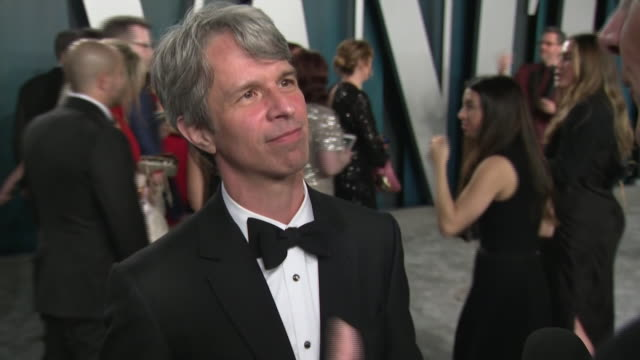 exterior shots of interview with oscar winner for best live action short film director marshall curry at the 26th annual vanity fair oscar party at... - oscar party stock videos & royalty-free footage