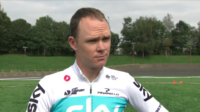 exterior shots of interview with sixtime grand tour winner chris froome discussing tour of britain on 1st september 2018 in cardiff wales - tour of britain stock videos & royalty-free footage