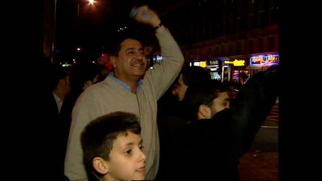exterior shots of iraqi expats celebrating on the streets of london after the capture of saddam hussein on december 14 2003 in london united kingdom - saddam hussein stock videos & royalty-free footage