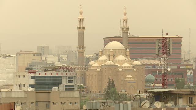 Exterior shots of Irbil's city skyline with its Grand Mosque old city walls hotels and new office buildings under construction on 19 September 2017...
