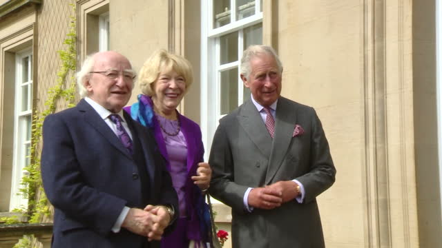 exterior shots of irish president michael d higgins and wife sabina coyne arriving at dumfries house and greeted by prince charles and camilla... - michael d. higgins stock videos and b-roll footage