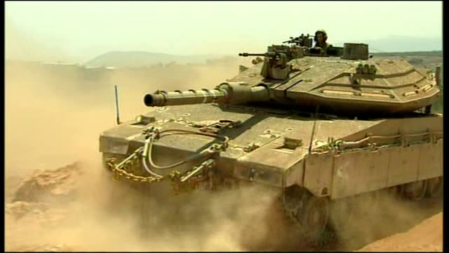 Exterior shots of Israeli tanks massed on Israel's border near Lebanon during the 2006 conflict between Israel and Hizbollah on July 22 2006 in...