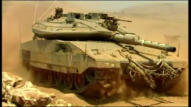 exterior shots of israeli tanks massed on israel's border near lebanon during the 2006 conflict between israel and hizbollah on july 22 2006 in... - 2006 stock videos & royalty-free footage
