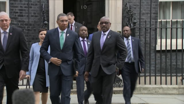 exterior shots of jamaican prime minister andrew holness presser outside 10 downing street commenting on the windrush generation immigrants and... - 10 downing street stock videos and b-roll footage