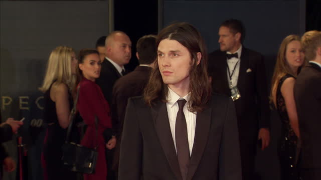 exterior shots of james bay attending the royal world premiere of 'spectre' at royal albert hall on october 26 2015 in london england - spectre 2015 film stock videos and b-roll footage