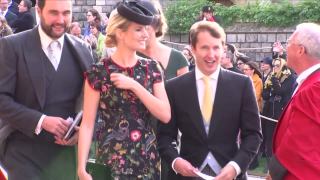 Exterior shots of James Blunt and Sofia Wellesley arriving at St George's Chapel for the wedding of Jack Brooksbank and Princess Eugenie on 12...