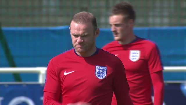 Exterior shots of Jamie Vardy England and Leicester City player on training pitch ahead of the Euro 2016 championship on June 07 2016 in Chantilly...