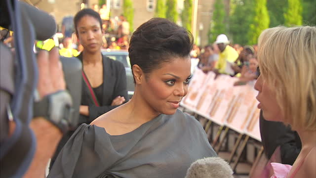 exterior shots of janet jackson arriving at the premiere of why did i get married too? at leicester square on may 21, 2010 in london, england. - fame stock videos & royalty-free footage