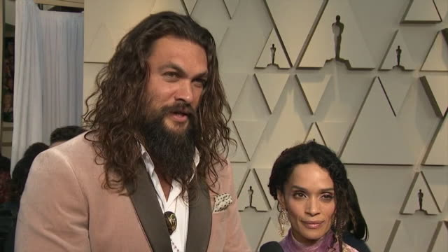exterior shots of jason momoa interview on the red carpet of the 91st academy award on 24th february 2019 in los angeles united states - academy awards stock videos & royalty-free footage