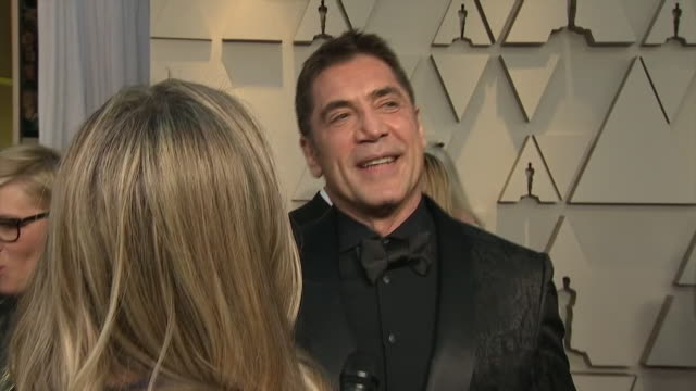 exterior shots of javier bardem interview on the red carpet of the 91st academy award on 24th february 2019 in los angeles united states - javier bardem stock-videos und b-roll-filmmaterial