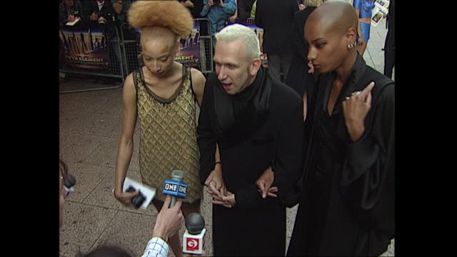 exterior shots of jean paul gaultier, fashion designer at the 'the fifth element' red carpet premiere on 3rd june 1997 in london, england. - film premiere stock videos & royalty-free footage