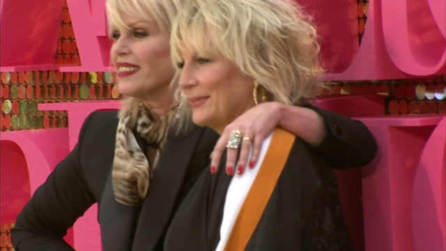 exterior shots of jennifer saunders and joanna lumley posing for photographers at the premiere of absolutely fabulous the movie>> on june 29 2016 in... - jennifer saunders stock videos & royalty-free footage