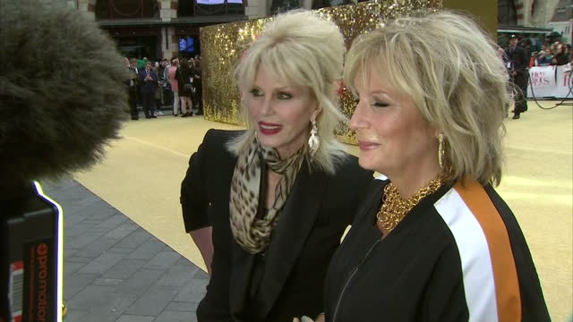 exterior shots of jennifer saunders and joanna lumley speaking to reporters at the premiere of absolutely fabulous the movie >> on june 29 2016 in... - jennifer saunders stock videos & royalty-free footage