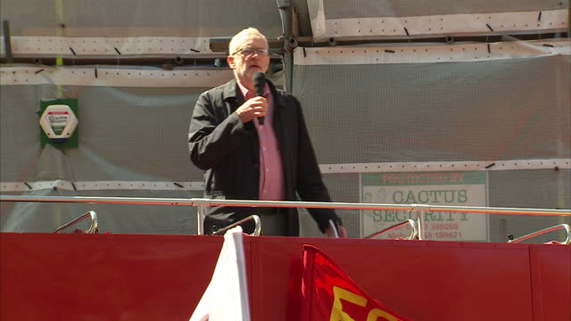 Exterior shots of Jeremy Corbyn addressing the May Day rally at Camberwell green in London speaking about the importance of the May Day...