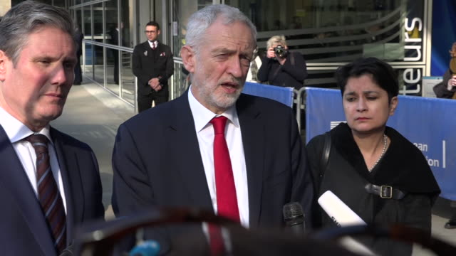 exterior shots of jeremy corbyn alongside with sir keir starmer and baroness sharmishta chakrabarti speaking to the press after meeting eu leaders at... - jeremy corbyn stock videos and b-roll footage
