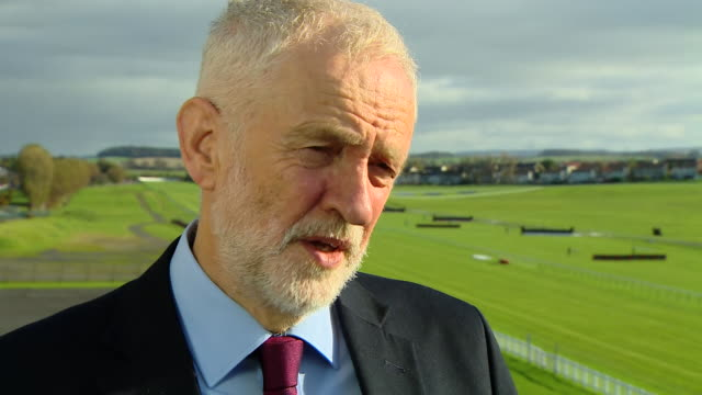 exterior shots of jeremy corbyn speaking about possible uk general election, no deal brexit, scottish independence and labour government policies on... - ayr stock videos & royalty-free footage