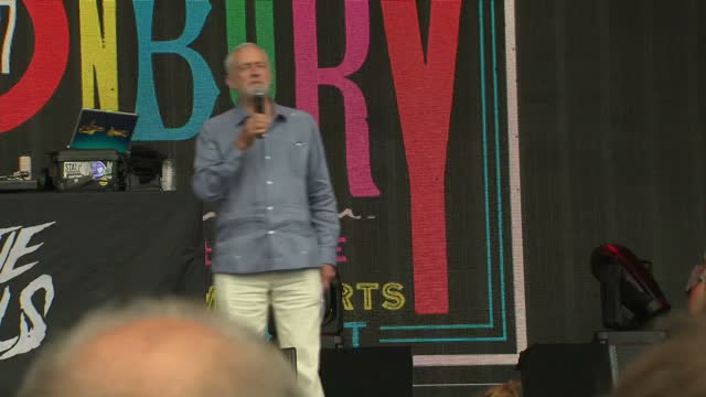 Exterior shots of Jeremy Corbyn speaking on the Pyramid Stage at the Glastonbury Festival on 24 June 2017 in Glastonbury United Kingdom