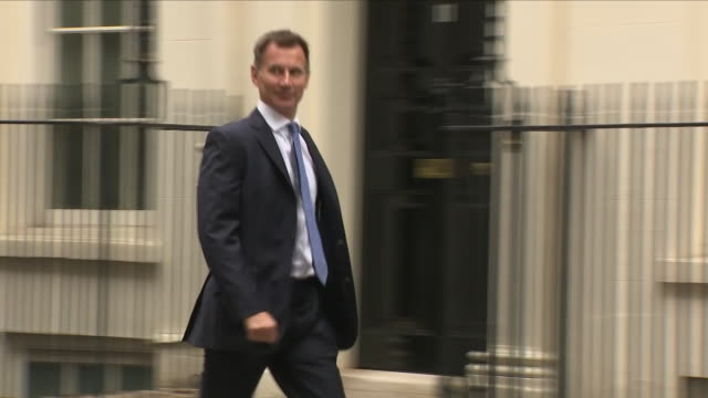 Exterior shots of Jeremy Hunt MP Secretary of State for Foreign and Commonwealth Affairs arrving at 10 Downing Street for cabinet meeting on 4th...