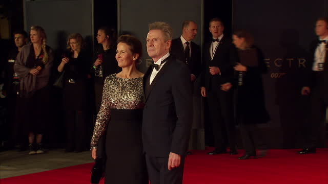 exterior shots of jesper christensen and tove bornhoft attending the royal world premiere of 'spectre' at royal albert hall on october 26 2015 in... - spectre 2015 film stock videos and b-roll footage