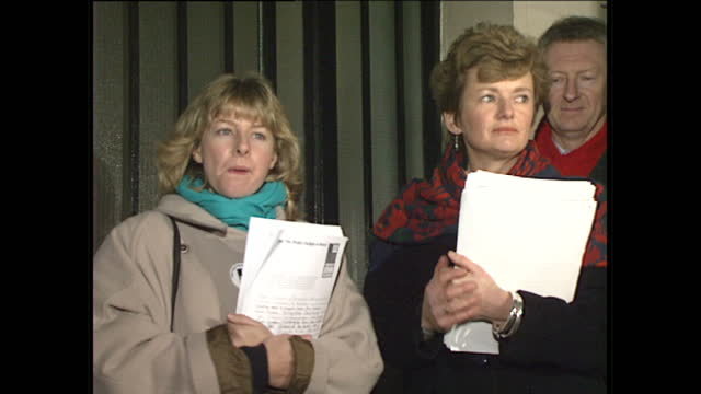 exterior shots of jill morell and glenys kinnock handing a petition to the iranian embassy in london for the release of journalist john mccarthy who... - 人質点の映像素材/bロール