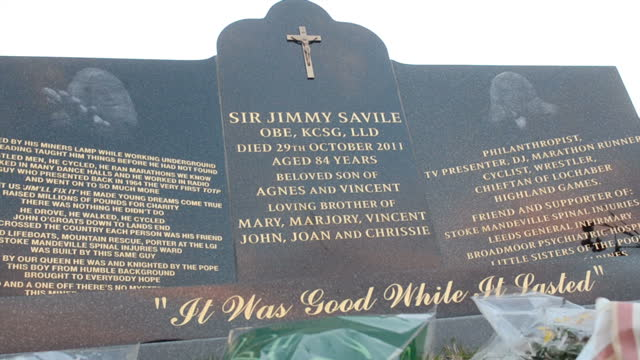 Exterior shots of Jimmy Savile's grave headstone at Woodlands cemetary in Scarborough Jimmy Savile Grave Headstone at Woodlands Cemetery on October...