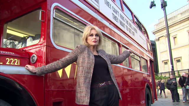 Exterior shots of Joanna Lumley campaigning for better treatment of animals in long distance journeys Joanna Lumley campaigning for animal rights on...