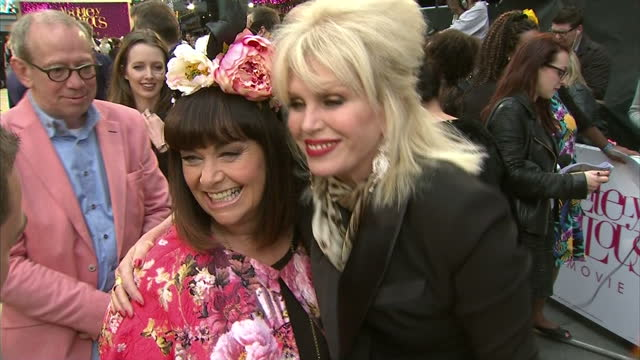 exterior shots of joanna lumley greeting dawn french at the premiere of absolutely fabulous the movie and interview with dawn french and joanna... - dawn french stock videos & royalty-free footage