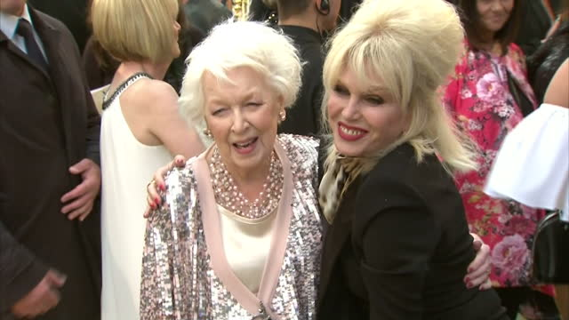exterior shots of joanna lumley posing with june whitfield at the premiere of absolutely fabulous the movie>> on june 29 2016 in london england - absolutely fabulous stock videos and b-roll footage