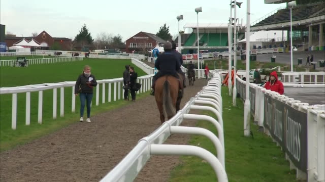 exterior shots of jockeys at practice prior to race day at cheltenham festival on the 12th march 2020 in cheltenham, england - cheltenham stock videos & royalty-free footage