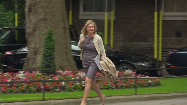 Exterior shots of Justine Greening Education Secretary walking to 10 Downing Street on 12 June 2017 in London United Kingdom