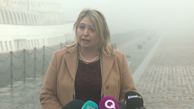 Exterior shots of Karen Bradley addressing members of the media during her first visit to Belfast as Secretary of State for Northern Ireland on...