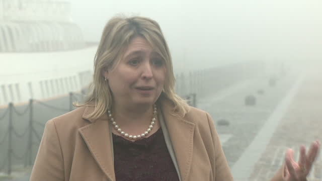 Exterior shots of Karen Bradley taking questions from members of the media during her first visit to Belfast as Secretary of State for Northern...