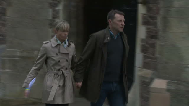 Exterior shots of Kate and Gerry McCann arriving and departing from Rothley Parish Church for a service of remembrance for missing children on 3 May...