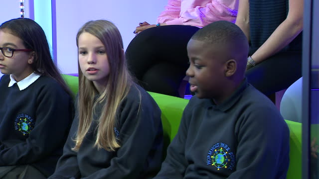 vídeos de stock, filmes e b-roll de exterior shots of kate middleton and prince william at the bbc talking to children about cyberbullying as part of antibullying week on 15 november... - bbc
