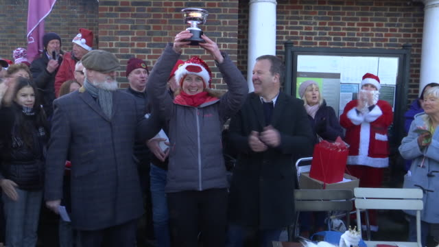 exterior shots of katherine cselko winner of the christmas day swim in the serpentine in hyde park on 25th december 2019 in london england - the serpentine london stock videos & royalty-free footage