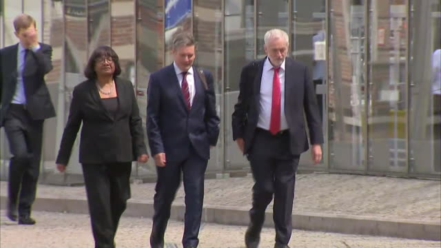exterior shots of keir starmer shadow secretary of state for exiting the european union walking with jeremy corbyn and diane abbott following a... - diane abbott stock videos & royalty-free footage