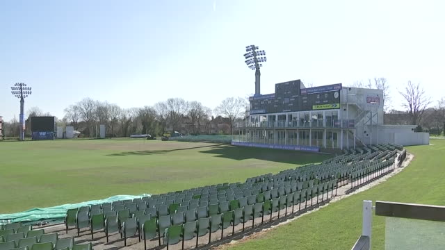 vídeos y material grabado en eventos de stock de exterior shots of kent county cricket club's st lawrence cricket ground on 22nd march 2020 in canterbury, kent - condado de kent inglaterra