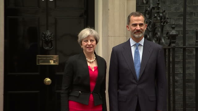 Exterior shots of King Felipe of Spain meeting Prime Minister Theresa May outside Downing Street and walking in on 13 July 2017 in London United...