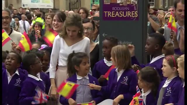 Exterior shots of King Felipe VI and Queen Letizia arriving in Oxford and meeting a group of school children on 14 July 2017 in London United Kingdom